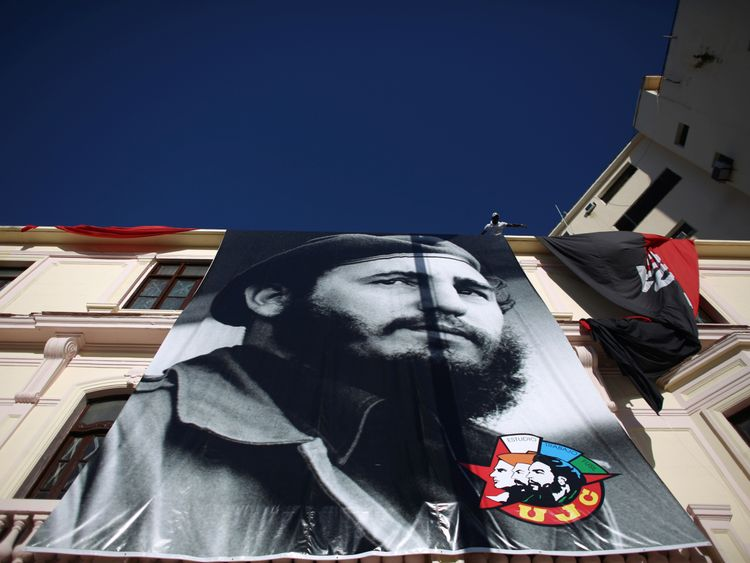 The revolutionary leader used his birthday to take a sideswipe at his Cold War foe
