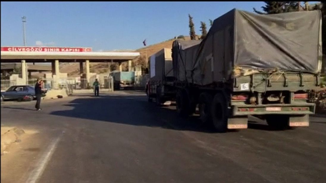 The convoy crossed the Turkish border town of Cilvegozu but is now stuck