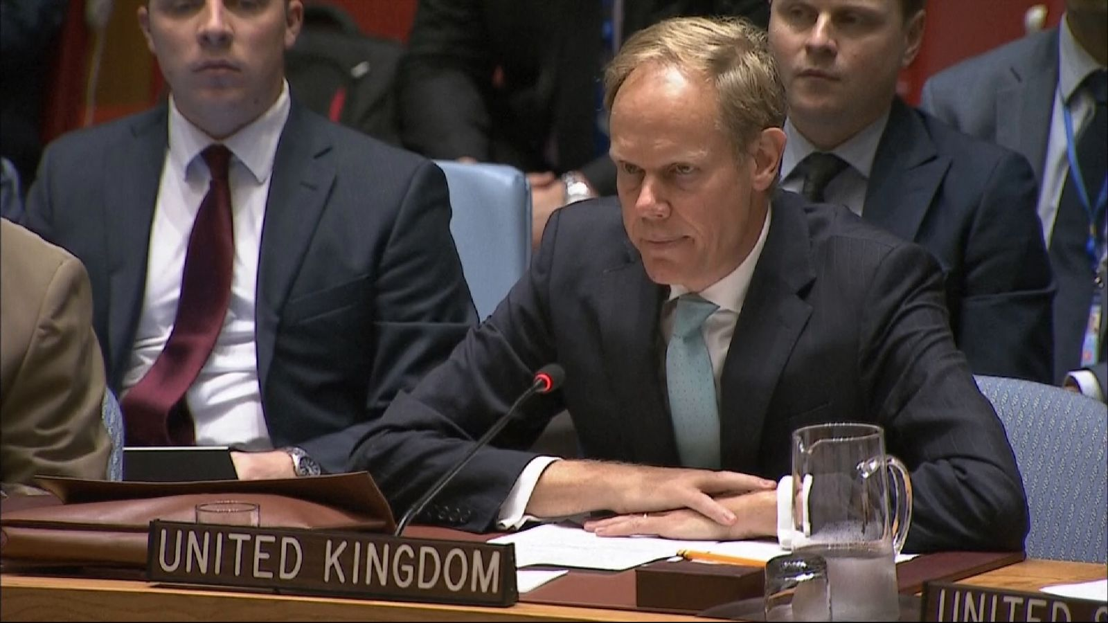 Britain's ambassador to the UN has accused Russia  of war crimes in Syria.