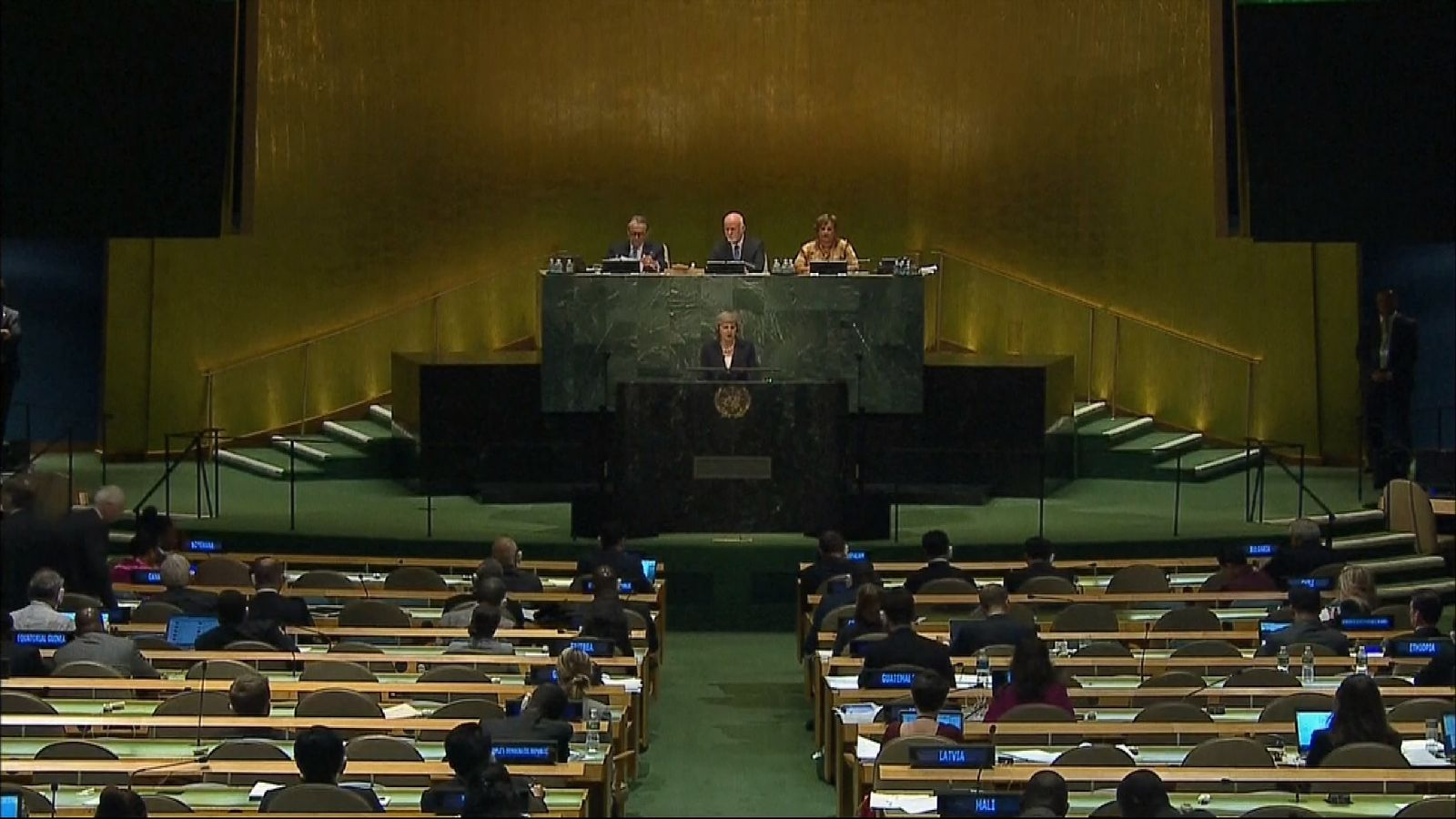 Theresa May addresses the UN