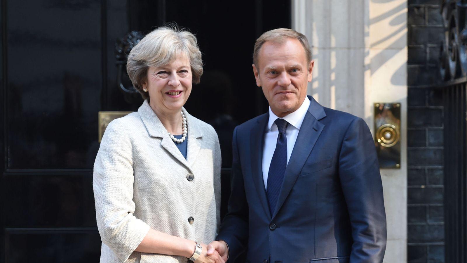 PM Theresa May greets European Council president Donald Tusk
