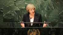British Prime Minister Theresa May addresses the United Nations General Assembly in the Manhattan borough of New York, U.S. September 20, 2016. REUTERS/Eduardo Munoz