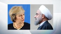 Prime Minister Theresa May and Iranian president Hassan Rouhani