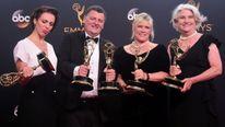 Amanda Abbington, Steven Moffat, Sue Vertue, Rebecca Eaton receive their Emmy awards for Sherlock