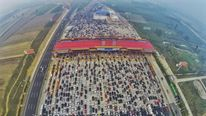 A traffic jam in Beijing following a national holiday