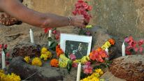 Tributes are left for Scarlett Keeling at Anjuna beach in Goa