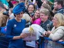The Duchess of Cambridge greets crowds