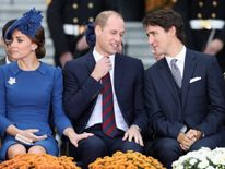 Kate, William and Justin Trudeau at the welcome ceremony