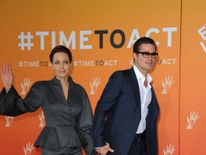 Jolie as a UN special envoy with Bitt at the Global Summit to End Sexual Violence in Conflict in London in 2014