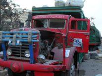 A damaged UNHCR truck after an airstrike