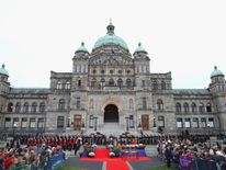 The Official Welcome Ceremony was held at the British Columbia Legislature