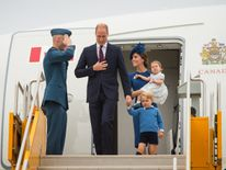 William and Kate arrive with their children at Victoria International Airport