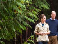 William and Kate walk through the Great Bear Rainforest in Bella Bella, Canada