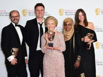 Paolo Proto, Andy Devonshire, Mary Berry, Nadiya Hussain and Anna Beattie, winners of Best Feature award for 'The Great British Bake Off' during the Bafta TV awards
