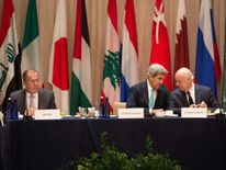 Sergei Lavrov and John Kerry prepare to discuss the ceasefire in Syria