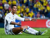 Cristiano Ronaldo reacts during the match between Las Palmas and Real Madrid