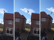 The man landed with a crash on the second roof