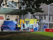 The scene at Naas General Hospital in Co KIldare after a patient died and a medic was injured after an ambulance burst into flames. PRESS ASSOCIATION Photo. Picture date: Thursday September 22, 2016. The emergency department was shut down following the incident. A Garda spokesman said one man died in the fire and the medic's condition was not believed to have been life-threatening. See PA story FIRE Hospital Ireland. Photo credit should read: Niall Carson/PA Wire