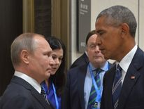 Russian president Vladimir Putin meets with his American counterpart Barack Obama during the G20 summit in China