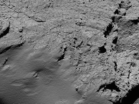 An image captured by Rosetta's camera of Comet 67P/Churyumov-Gerasimenko