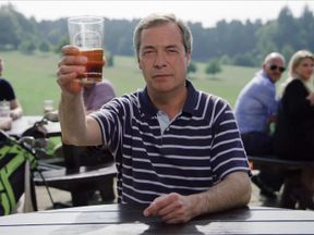 Nigel Farage raises a pint to Europe...in support of the Ryder Cup