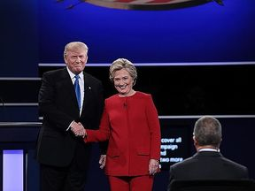 Donald Trump Hillary Clinton shake hands before the Presidential Debate at Hofstra University