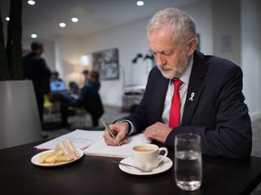 Jeremy Corbyn prepares his keynote speech which he will deliver on Wednesday