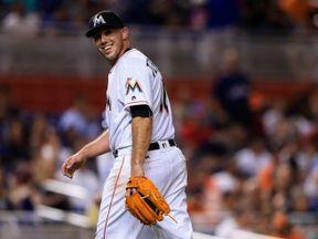 Jose Fernandez of the Miami Marlins at a game in August