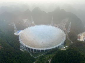 The Aperture Spherical Radio Telescope on its first day of operation