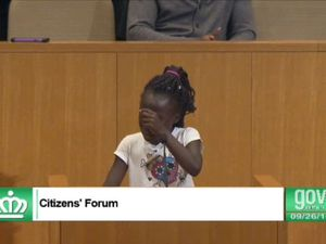 Girl, 9, cries during plea over US police shooting