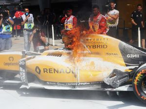 Rosberg fastest as Renault catches fire in P1