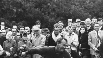 The golfer celebrates during the Piccadilly World Match Play Championship final in 1967. Pic: Allsport Hulton/Archive