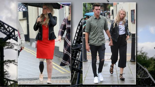 Alton Towers theme park Smiler ride accident victim Vicky Balch (L) and Leah Washington and Joe Pugh (R) outside Stafford Crown Court.