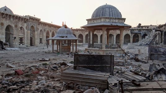 The Grand Umayyad Mosque in Aleppo has been badly damaged during fighting in the city