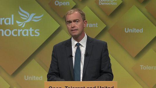 Tim Farron address the Liberal Democrats in Brighton 2016