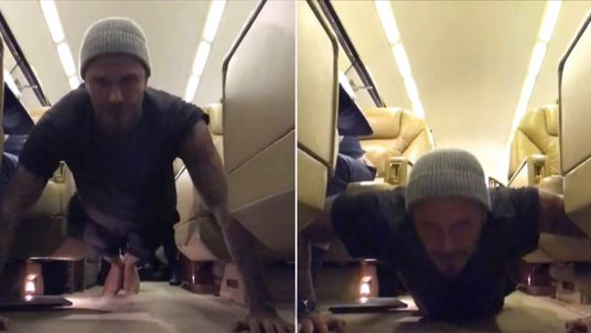 David Beckham filmed his workout in the aisle of a plane