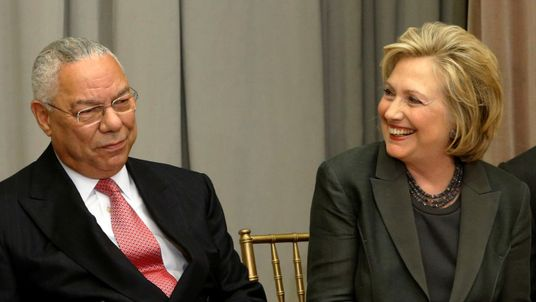 Former US secretaries of state Colin Powell and Hillary Clinton seen together in 2014