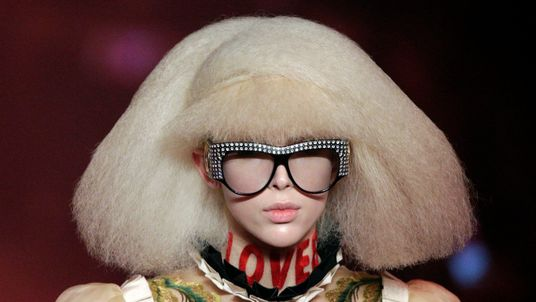 A model presents a creation at the Gucci fashion show during Milan Fashion Week Spring/Summer 2017 in Italy