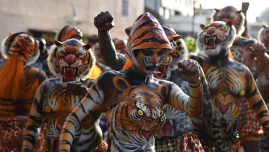 An Indian performer painted as a tiger takes part in the 'Pulikali', or Tiger Dance, in Thrissur