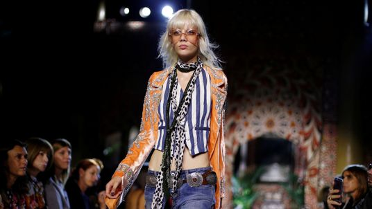 A model presents a creation at the Roberto Cavalli fashion show