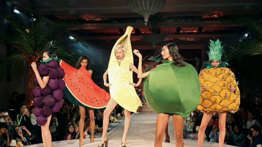 Models present creations at the Charlotte Olympia catwalk show during London Fashion Week
