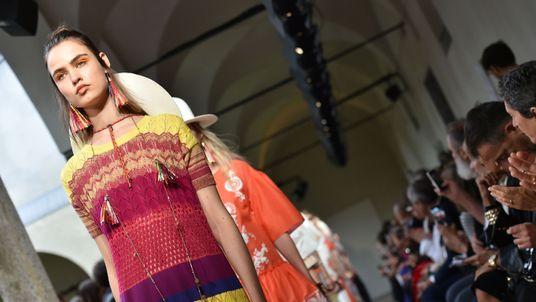 A model presents a creation for fashion house Blugirl