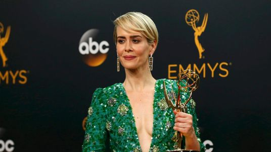 "Sarah Paulson poses backstage with her award for Outstanding Lead Actress In A Limited Series Or Movie for ""The People v. O.J. Simpson: American Crime Story"""