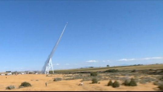 Eddie Braun is blasted into the air by his rocket 'Evel Spirit'