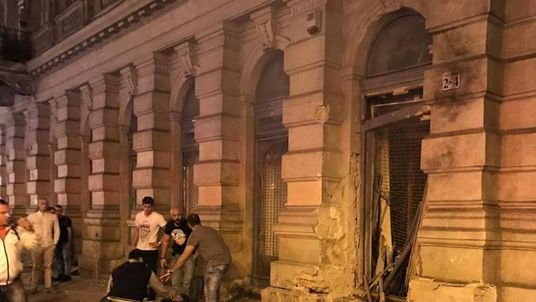 The scene in Budapest after an explosion, which injured two people. Pic: Katey Anne McGee