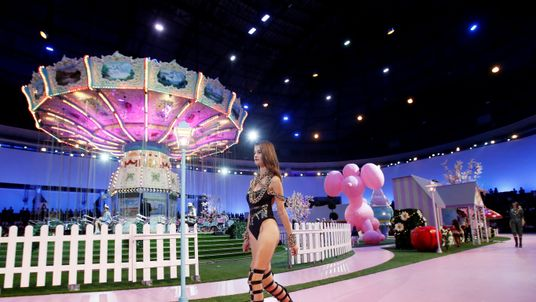 A model presents a creation at the Philipp Plein fashion show