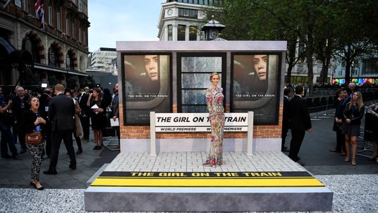 """Emily Blunt poses as she arrives at the World premiere of """"The Girl on the Train"""" at Leicester Square in London"""