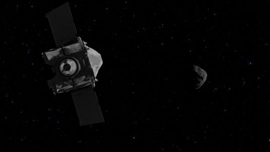 The Osiris-REx is imagined approaching the asteroid in this NASA animation
