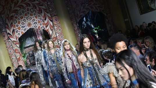 Models present creations for fashion house Roberto Cavalli