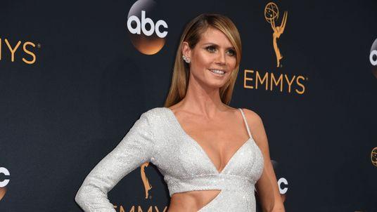 America's Got Talent judge Heidi Klum strikes a pose at the Emmys